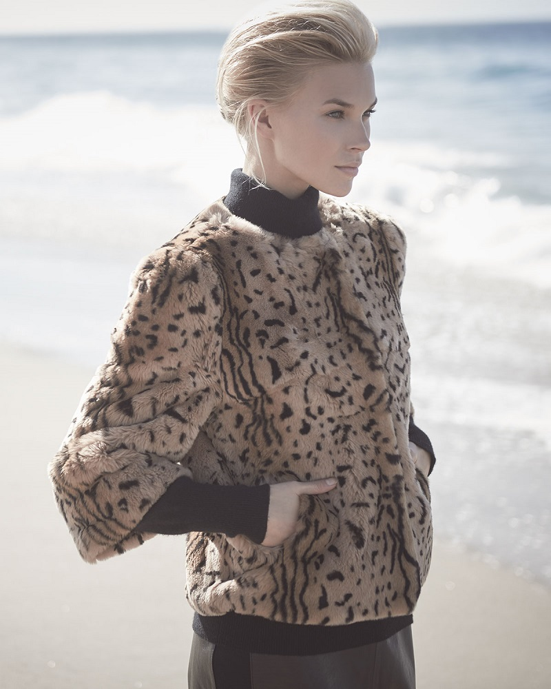 Belle Fare 34-Sleeve Animal-Print Fur Coat-