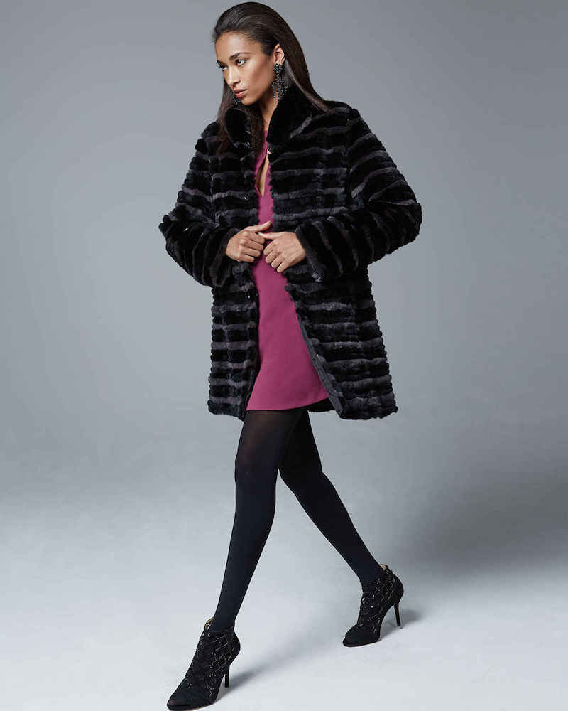 Belle Fare Two-Tone Rabbit Fur Reversible Coat