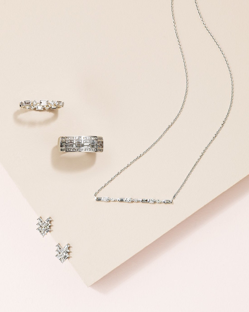 Bony Levy Baguette Bar Diamond Necklace