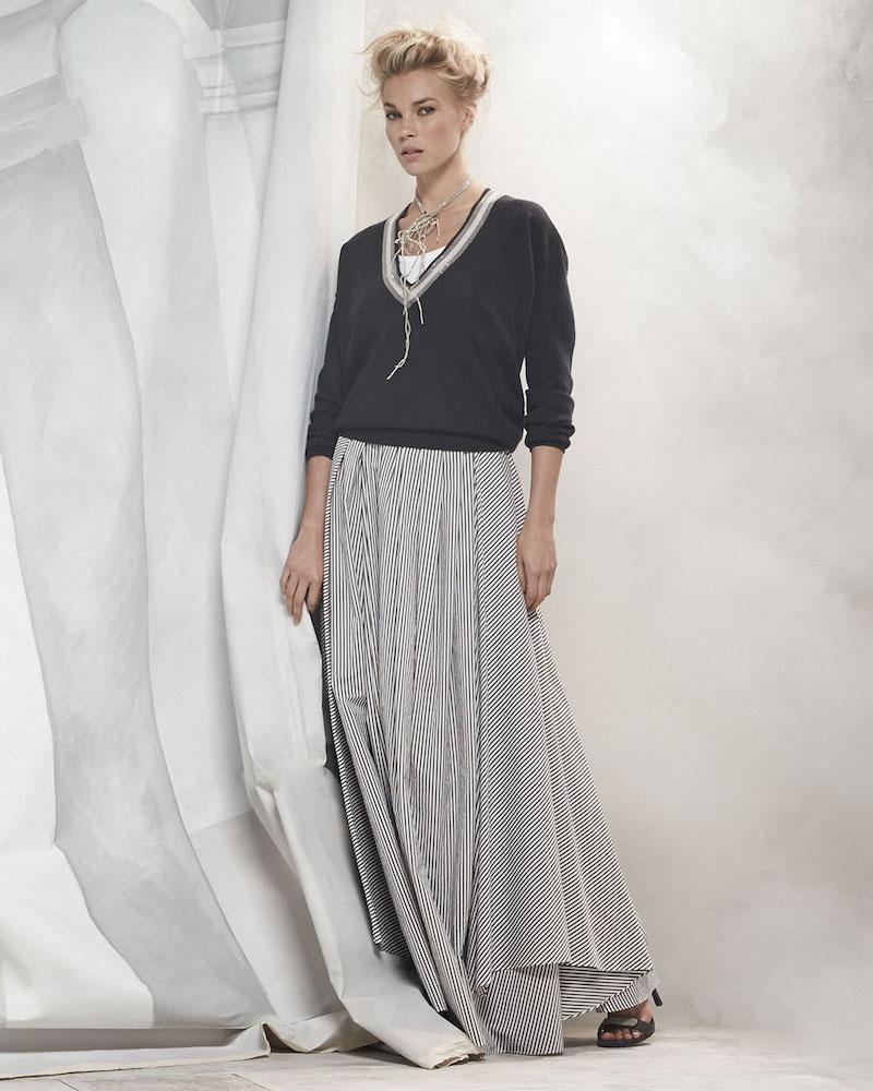 Brunello Cucinelli Long-Sleeve Monili-Trim Cashmere Pullover