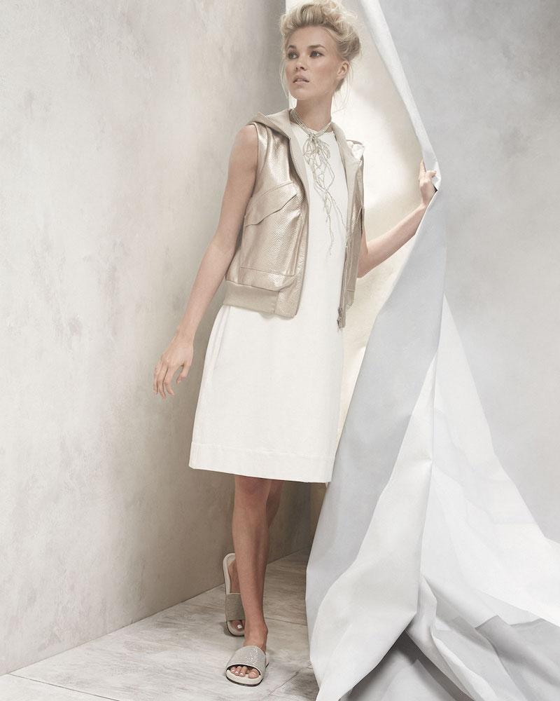 Brunello Cucinelli Metallic-Leather Hooded Utility Vest