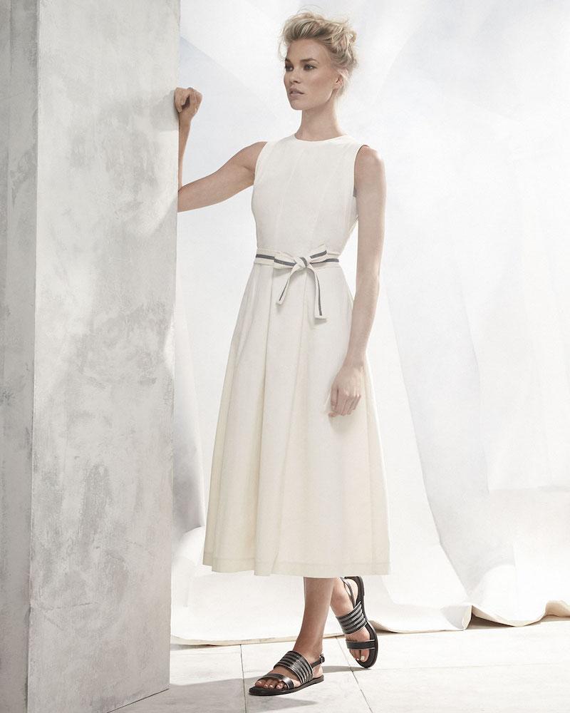 Brunello Cucinelli Sleeveless Midi Dress with Monili-Trim Belt