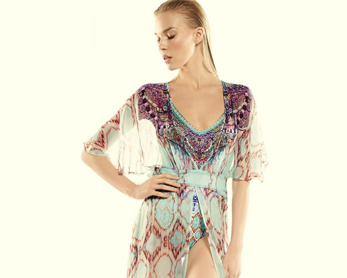 Camilla One-Piece Swimsuit Embellished with Crystals