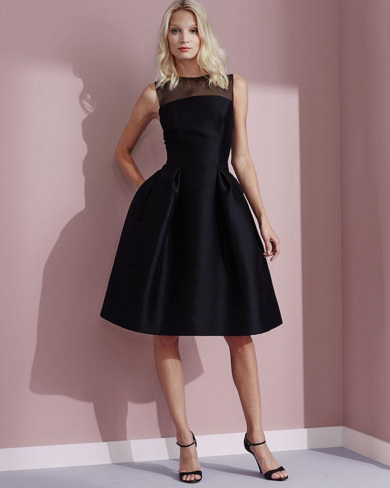 Carolina Herrera Sleeveless Sheer-Yoke Cocktail Dress
