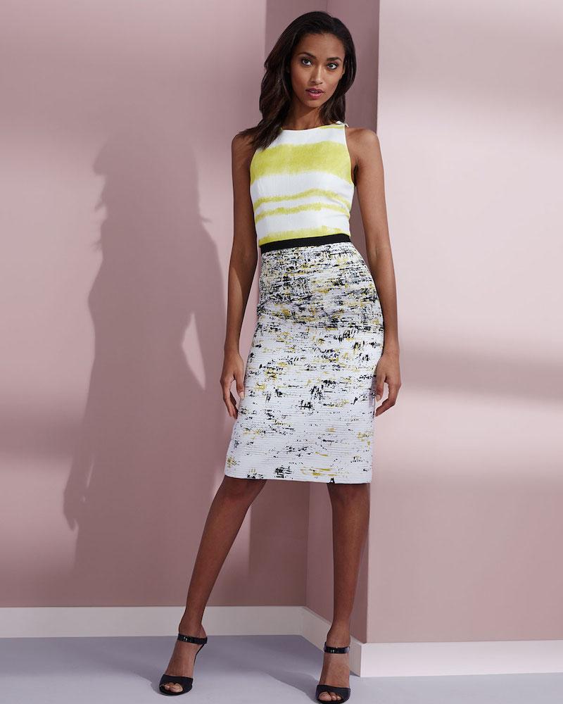 Carolina Herrera Sleeveless Two-Tone Sheath Dress