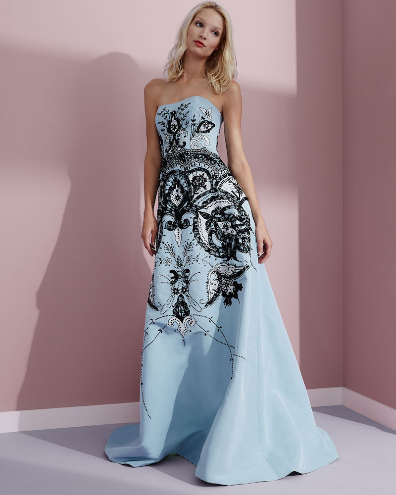 Carolina Herrera Strapless Embroidered Gown
