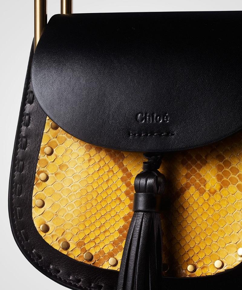 Chloé Hudson mini leather and python cross-body bag