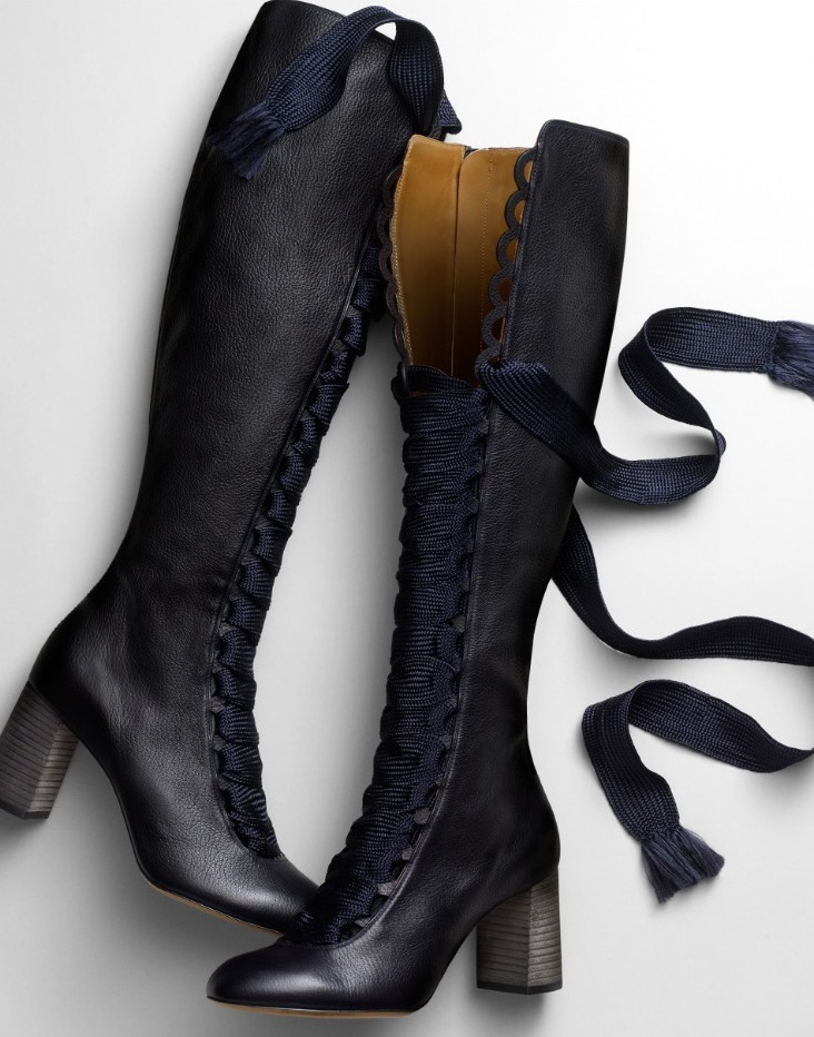 Chloé Lace-up front leather knee boots