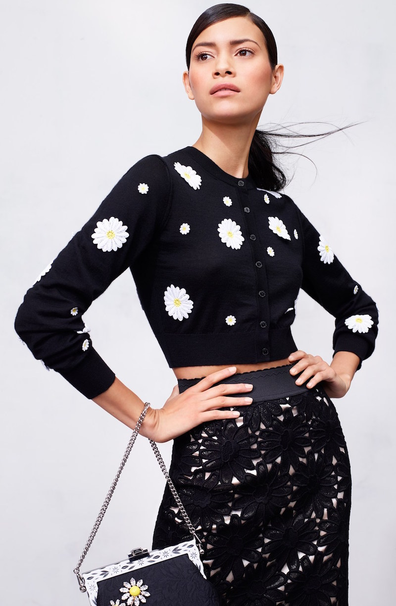 Dolce&Gabbana Embroidered Daisy Crop Cashmere Blend Cardigan