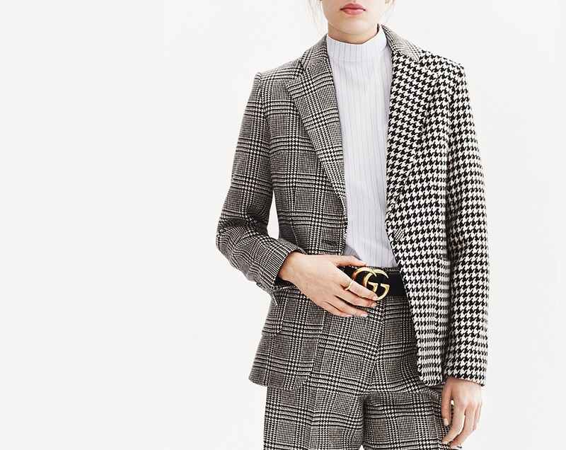 Edun Plaid and hound's-tooth wool blazer