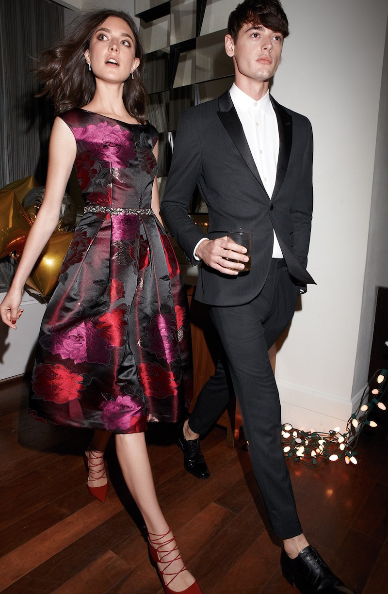 Eliza J Embellished Metallic Jacquard Fit & Flare Dress