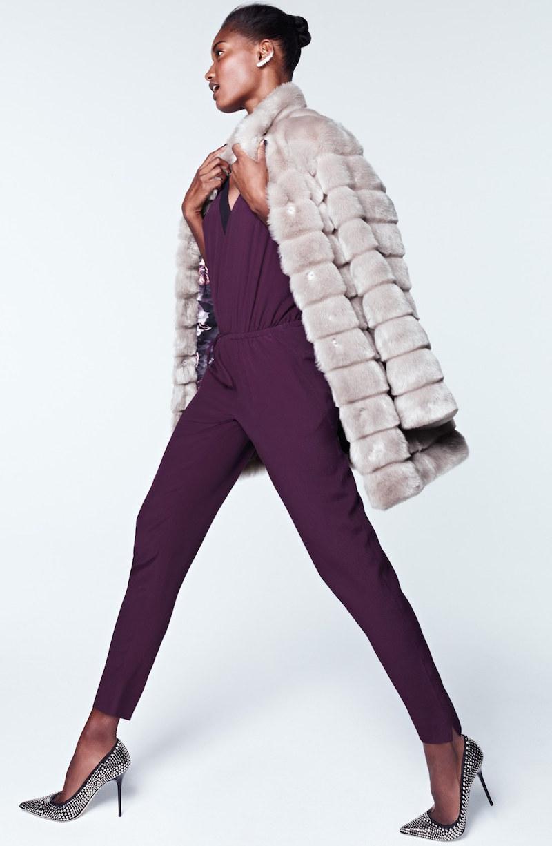 Eliza J Grooved Faux Fur Coat