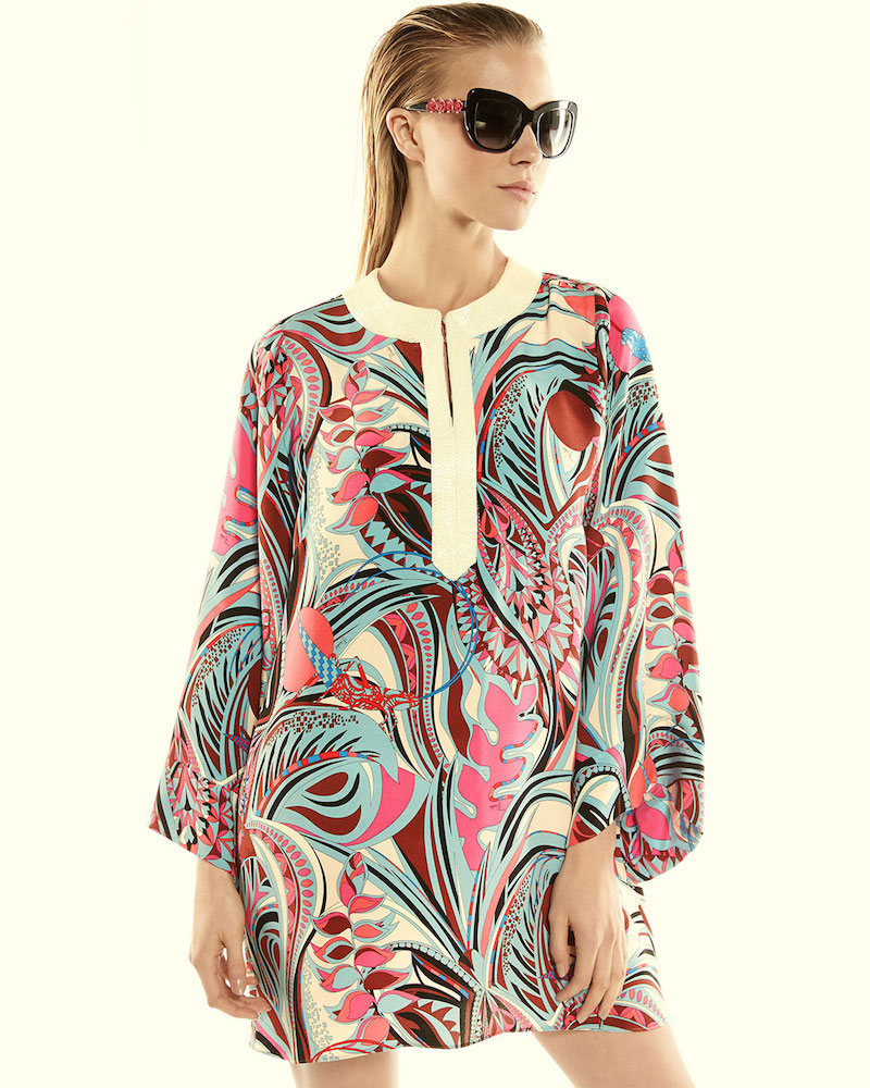 Emilio Pucci Embellished-Neck Printed Long-Sleeve Caftan Dress