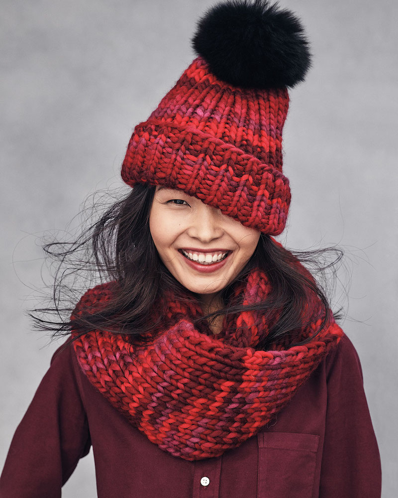 Eugenia Kim Rain Beanie with Fox Fur Pom-Pom
