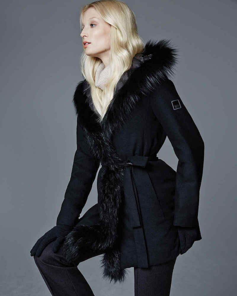 Fleurette Reversible Wool-Blend Coat with Fur Trim