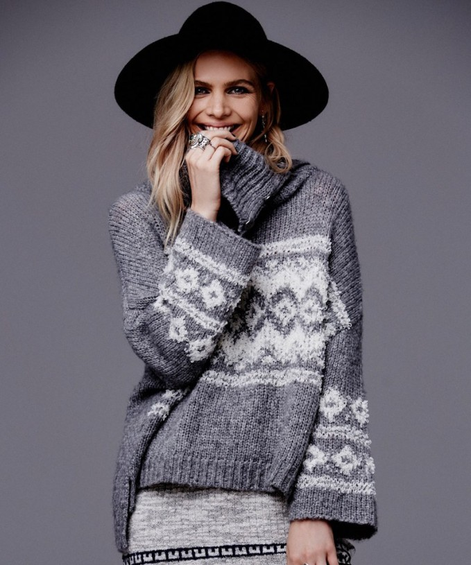 Free People Fair Isle Split Neck Sweater_1