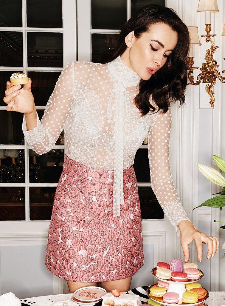 Giamba Textured Floral Skirt