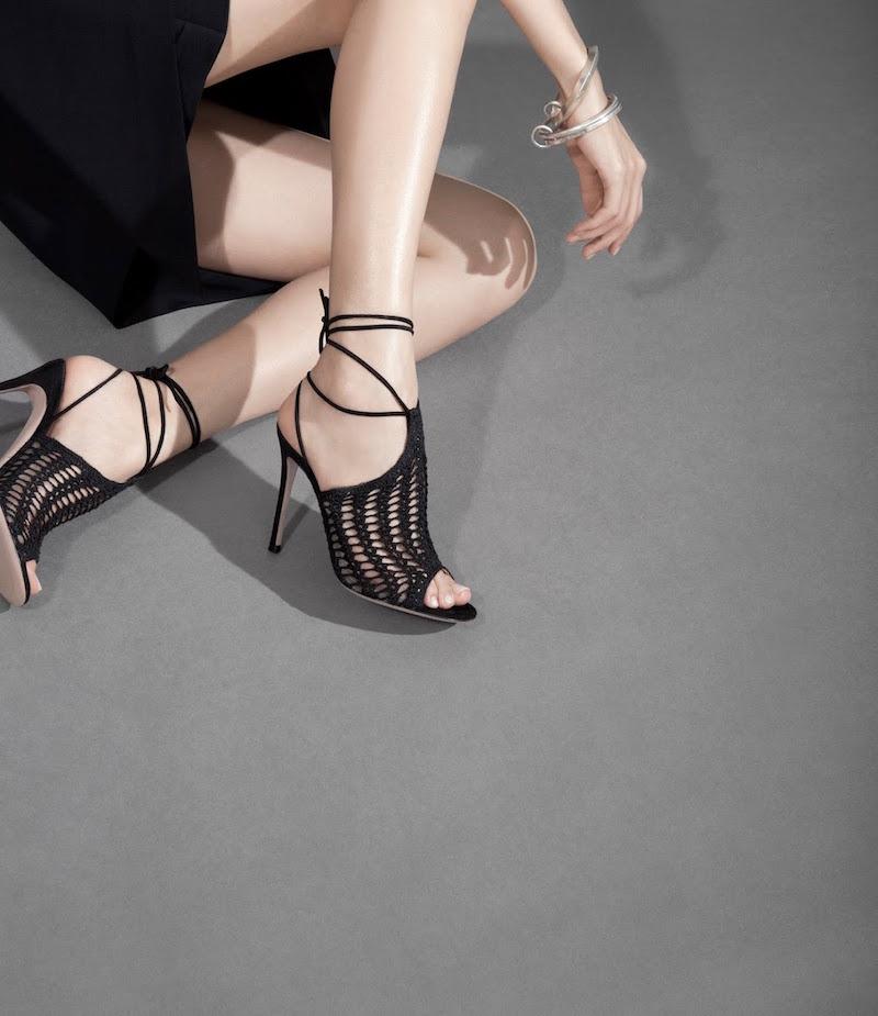 Gianvito Rossi Crochet Ankle-Tie Sandals