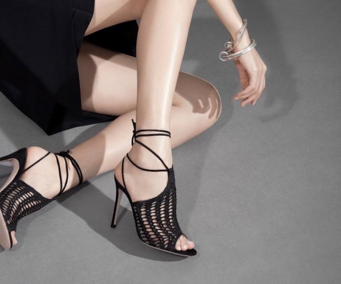 Gianvito Rossi Crochet Ankle-Tie Sandals_1