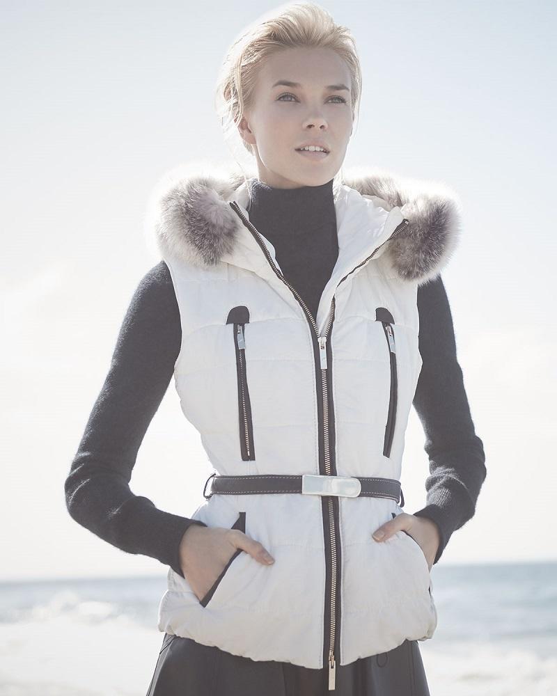 Gorski Fox Fur-Trim Belted Vest