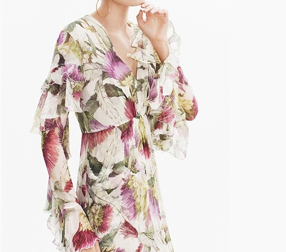 Gucci Floral-print long-sleeved silk-chiffon midi dress