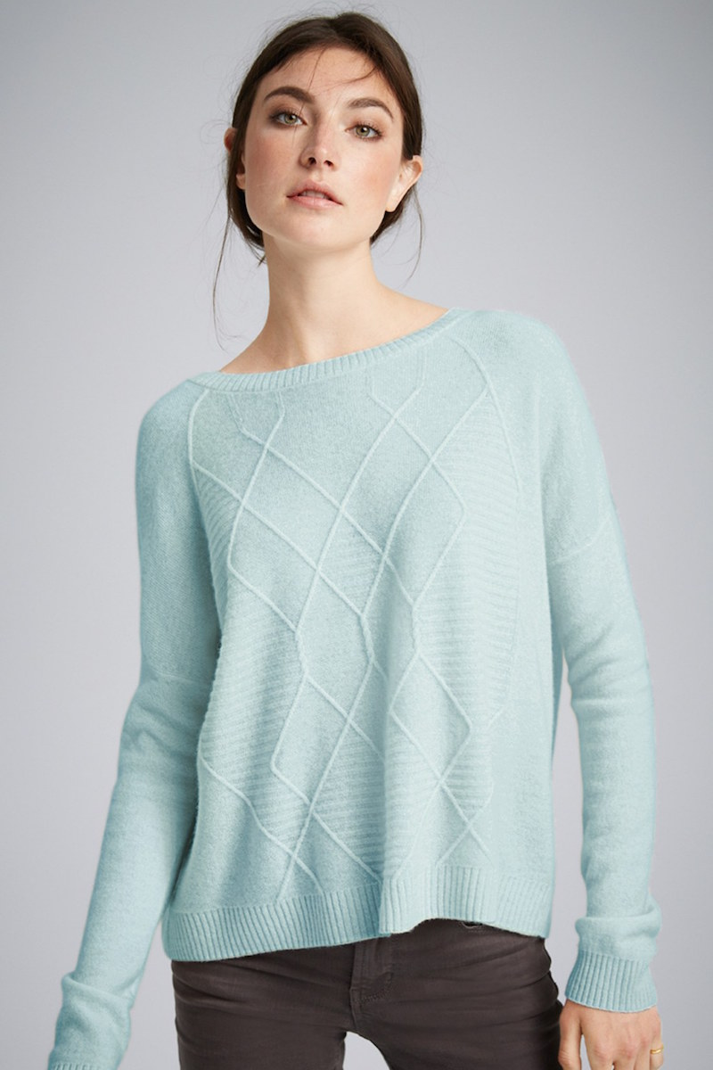 Halogen Diamond Pattern Cashmere Sweater