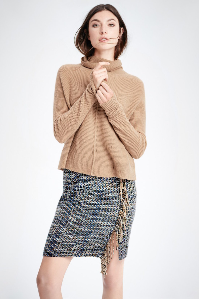 Halogen Fringe Detail Tweed Pencil Skirt