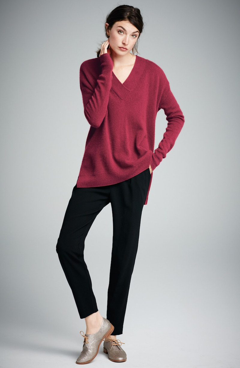 Halogen Surplice V-Neck Cashmere Sweater