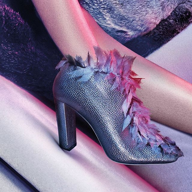 JIMMY CHOO Ladine 100 Anthracite Metallic Grainy Leather with Fabric Feathers Ankle Boots