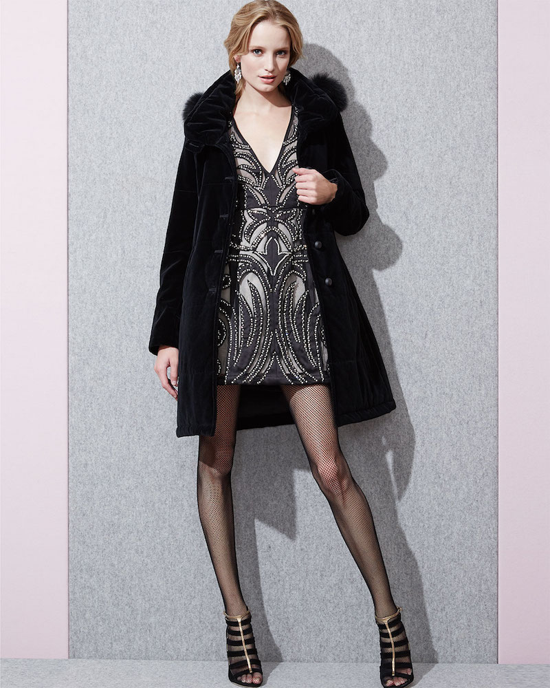 Jane Post Hooded Fur-Trim Velvet Coat
