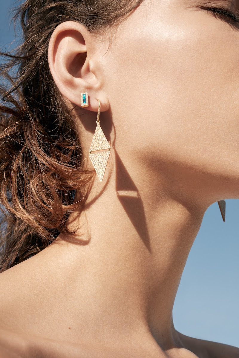Jennifer Meyer Triangular Double-Drop Earrings