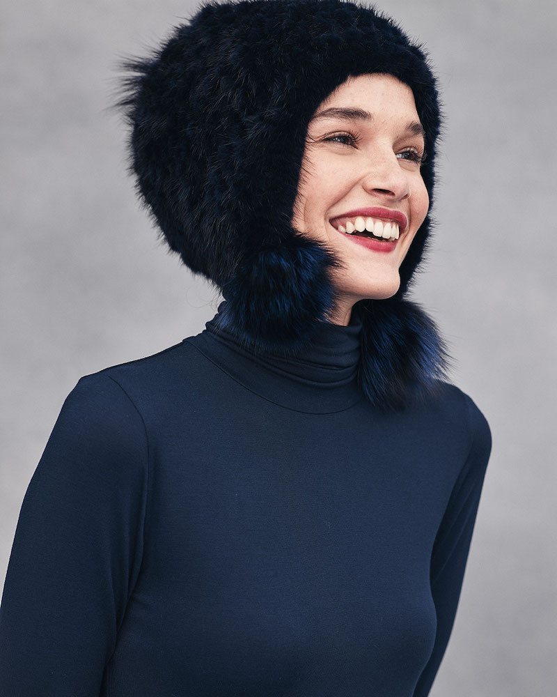 Jocelyn Knitted Mink Fur Hat with Pom-Poms