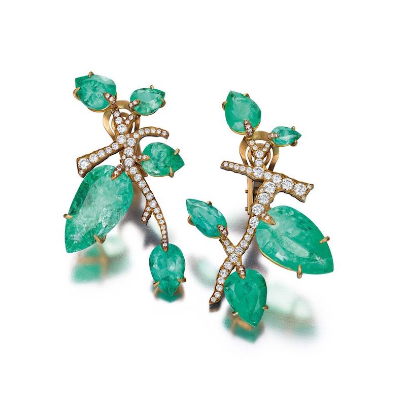 Judy Geib Emerald & Diamond Branch Earrings