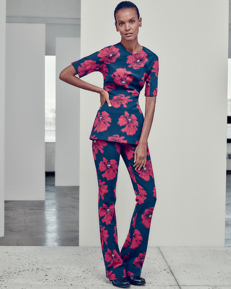 Lela Rose Short-Sleeve Floral-Print Peplum Top