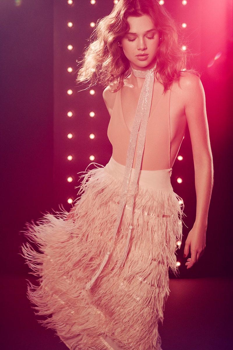 Line & Dot Amelie Ostrich Skirt