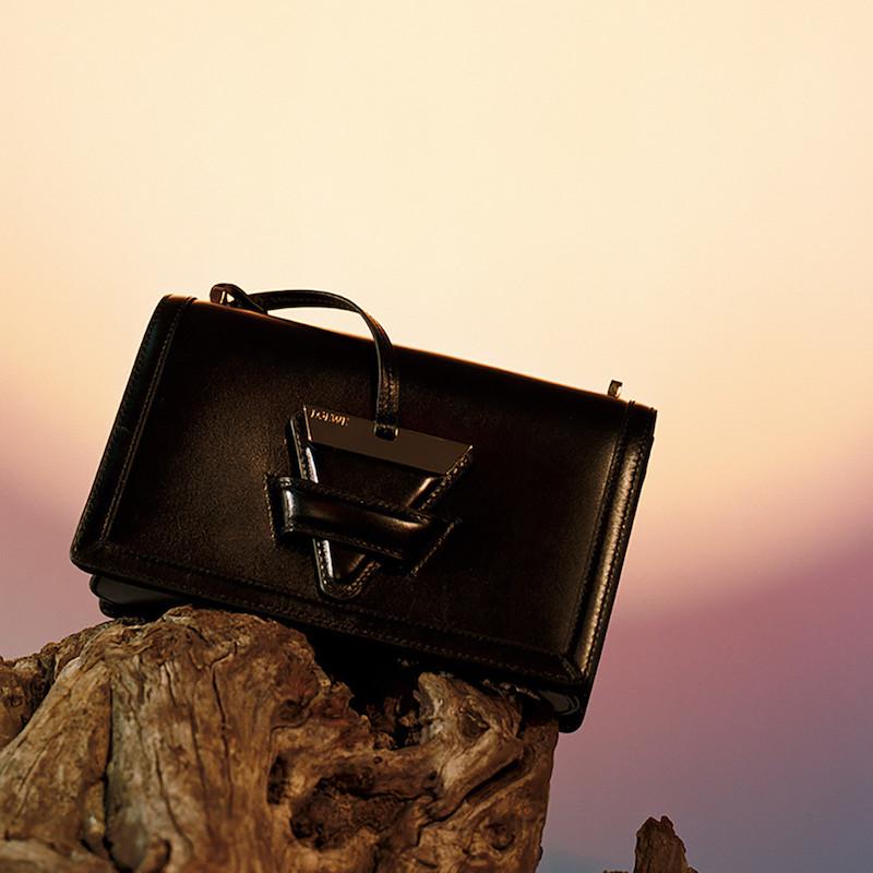 Loewe Black Leather Barcelona Shoulder Bag