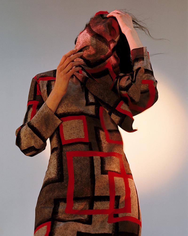 Loewe Grey & Red Silk Dress