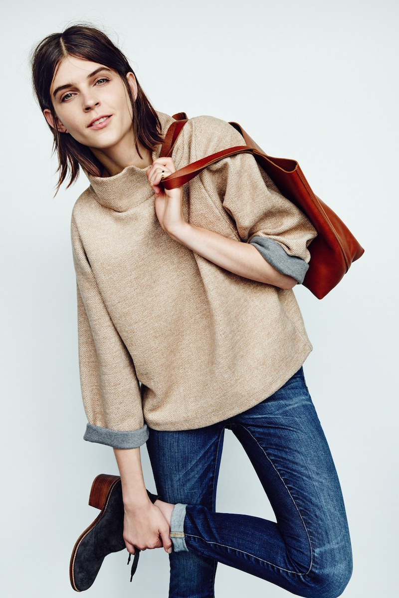 Madewell Herringbone Mock Neck Sweatshirt