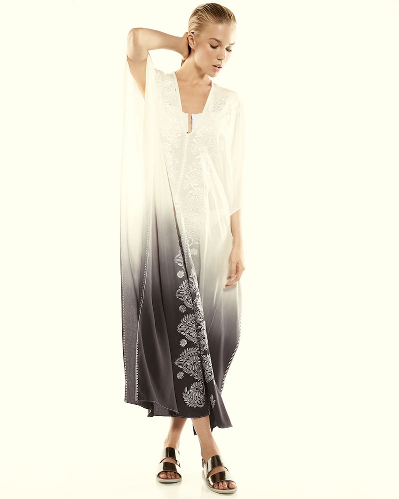 Marie France Van Damme Embroidered V-Neck Caftan Coverup