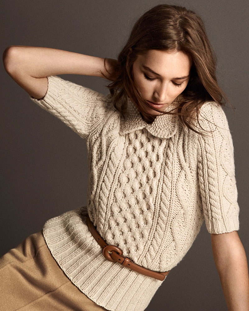 Michael Kors Collection Aran Cable-Knit Collared Sweater