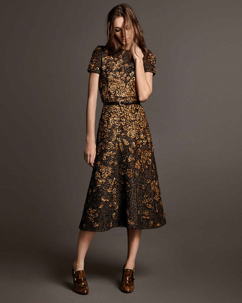 Michael Kors Collection Feather-Embroidered Short-Sleeve Dress