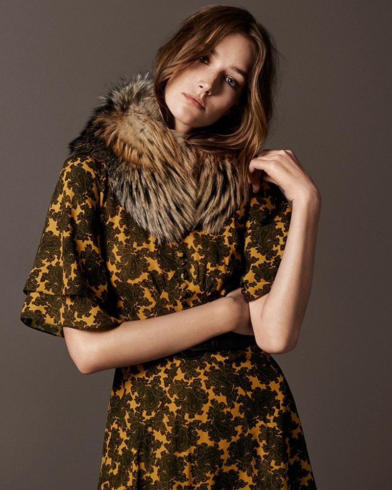 Michael Kors Collection Paisley-Print Ruffle-Sleeve Dress
