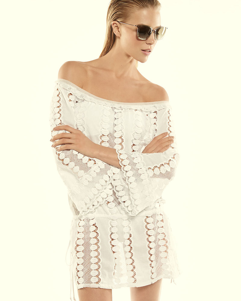 Miguelina Tabitha Off-the-Shoulder Lace Coverup