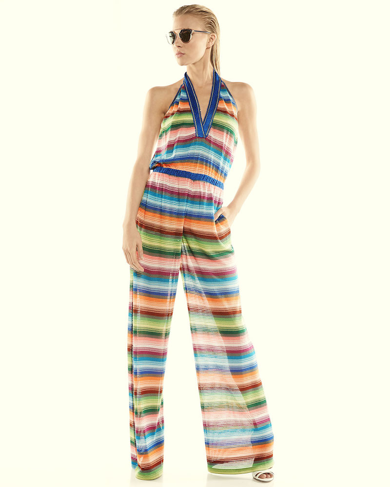 Missoni Mare Striped Halter-Neck Jumpsuit Coverup