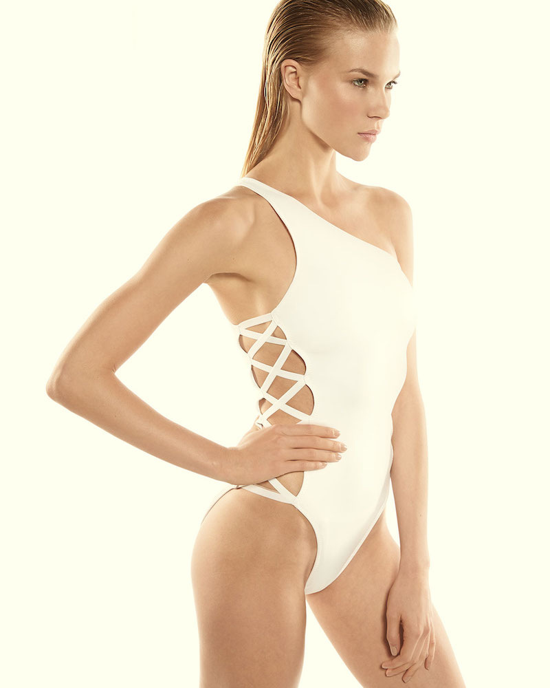 Norma Kamali Crisscross-Side One-Shoulder Swimsuit