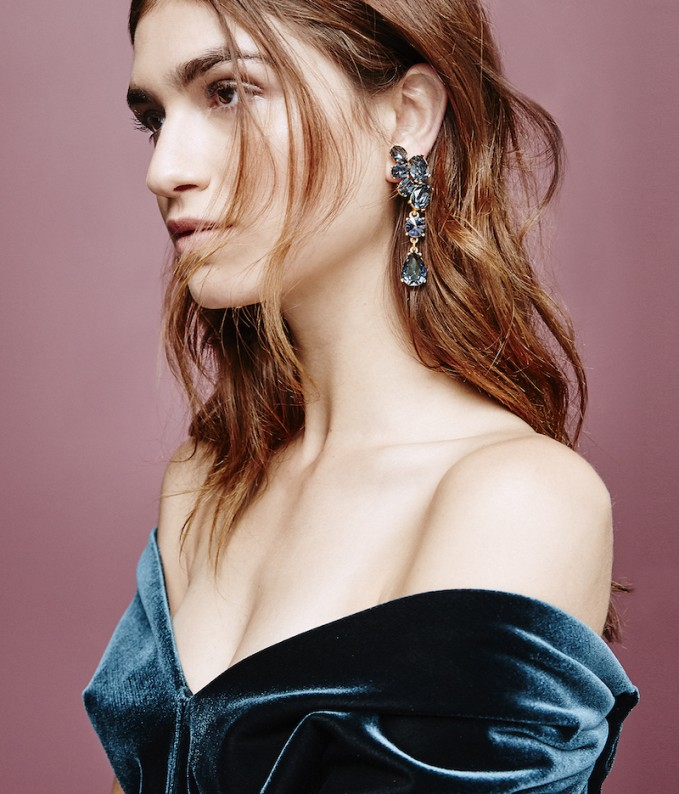 Oscar De La Renta Swarovski-crystal Asymmetric Earrings