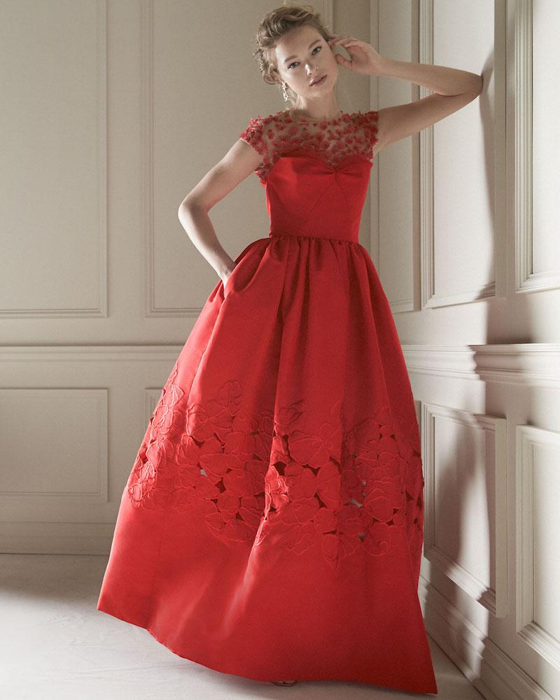 Oscar de la Renta Floral-Embellished Ball Gown