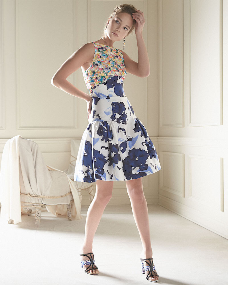 Oscar de la Renta Floral-Motif Mixed-Media Dress