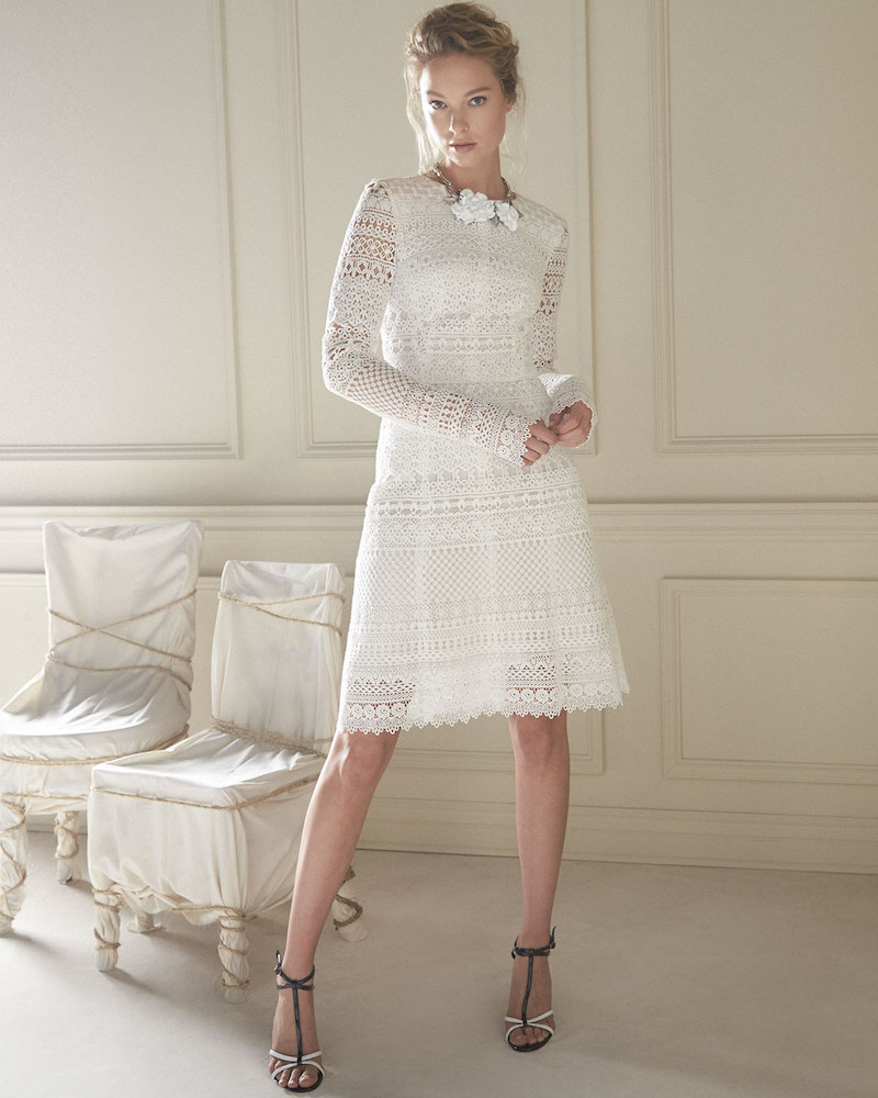 Oscar de la Renta Long-Sleeve Banded-Lace Sheath Dress