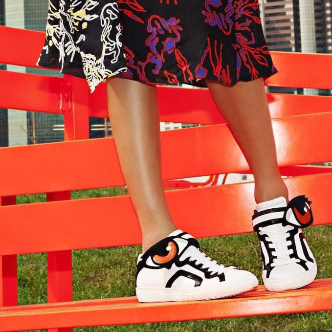 Pierre Hardy Eye-Paneled Leather Sneakers